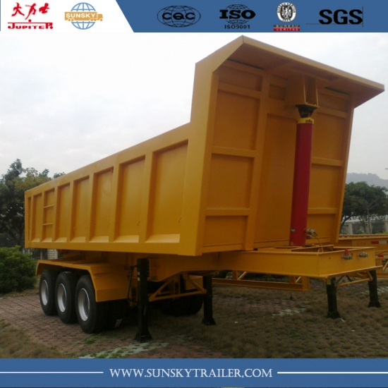 Popular 27 CBM square shaped 3 axles tipping trailer in Kenya for sale to transport container and mines stones